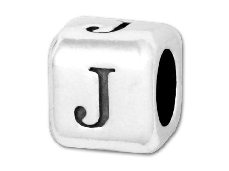 Alphabet Bead 5.8mm Rounded Cube - J