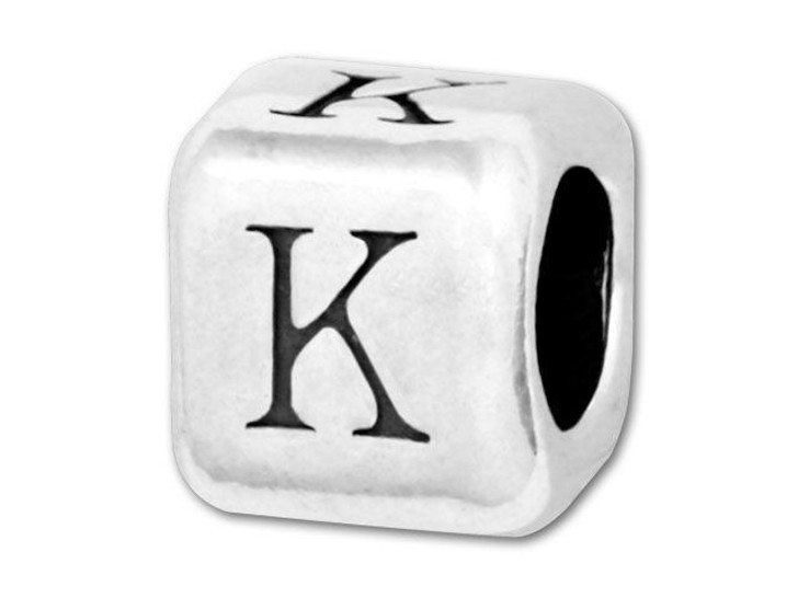 Alphabet Bead 5.8mm Rounded Cube - K