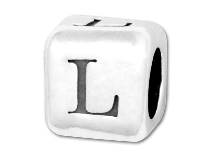 Alphabet Bead 5.8mm Rounded Cube - L