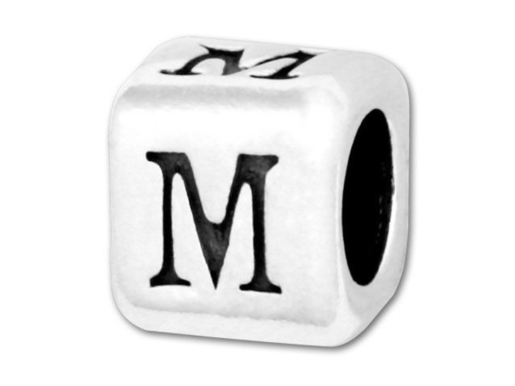 Alphabet Bead 5.8mm Rounded Cube - M