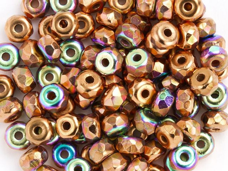 True2 Fire-Polished Faceted Micro Beads 2 x 3mm Copper Plate AB (100 Pcs)