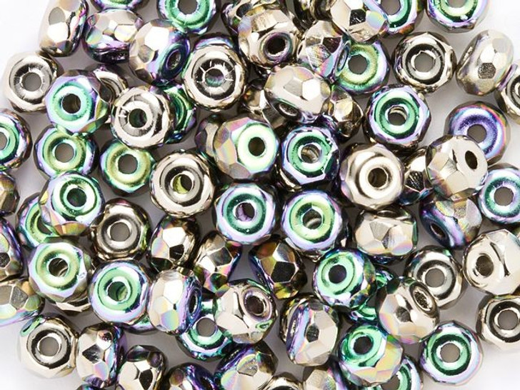 True2 Fire-Polished Faceted Micro Beads 2 x 3mm Nickel Plate AB (100 Pcs)