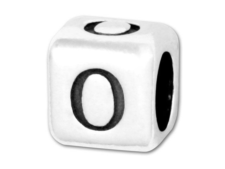 Alphabet Bead 5.8mm Rounded Cube - O
