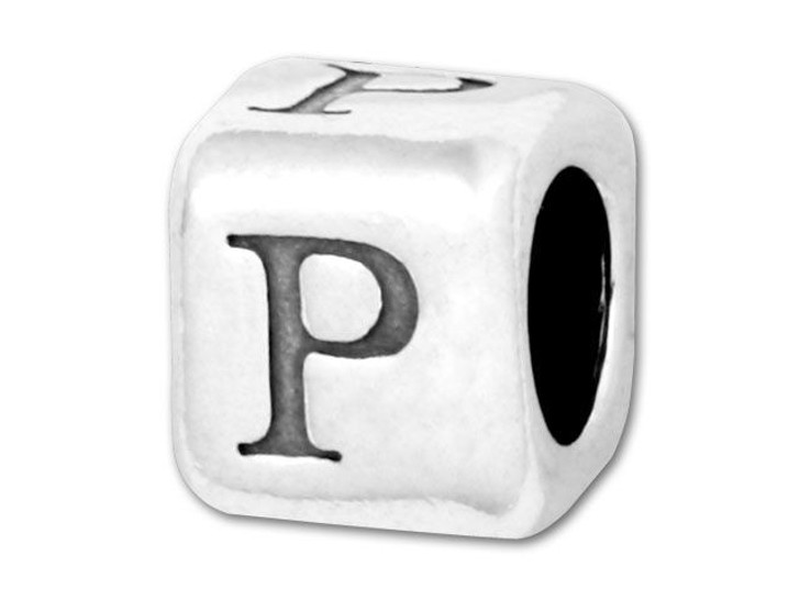 Alphabet Bead 5.8mm Rounded Cube - P