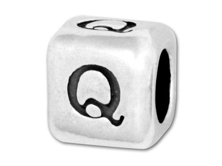 Alphabet Bead 5.8mm Rounded Cube - Q