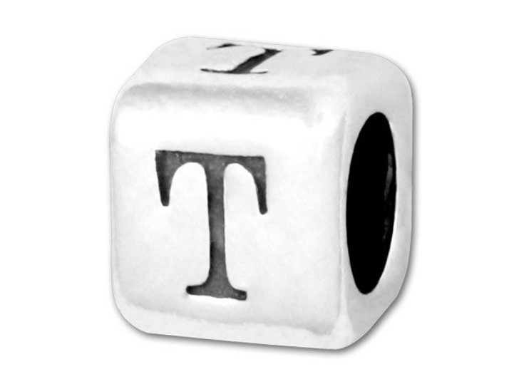 Alphabet Bead 5.8mm Rounded Cube - T