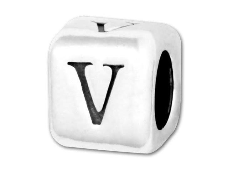 Alphabet Bead 5.8mm Rounded Cube - V