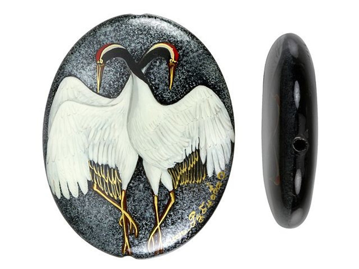 Two Cranes on Black Agate Oval Bead