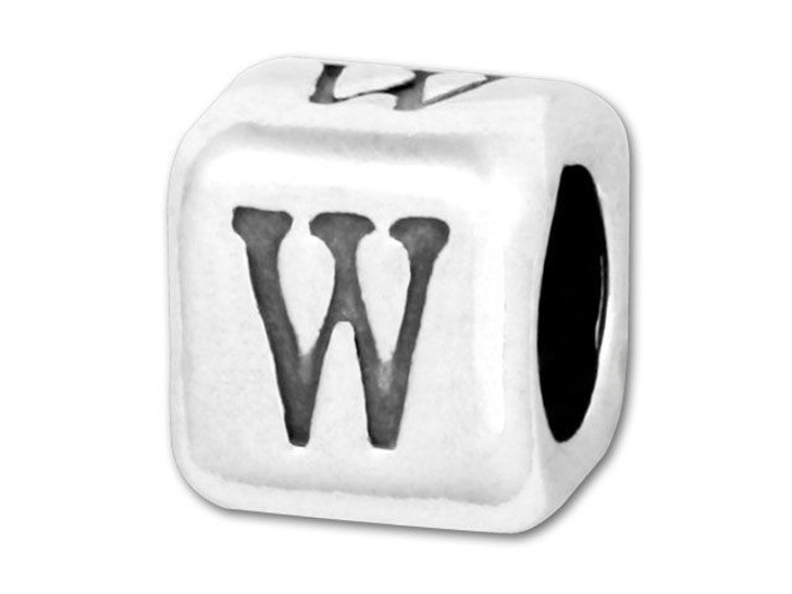 Alphabet Bead 5.8mm Rounded Cube - W