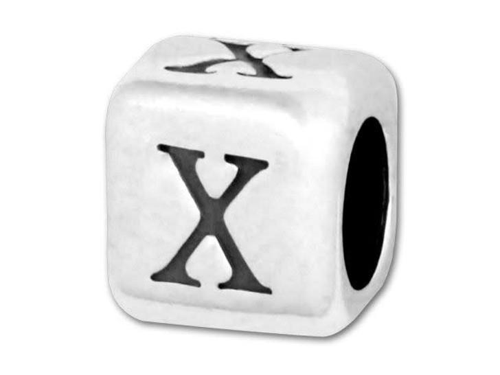 Alphabet Bead 5.8mm Rounded Cube - X
