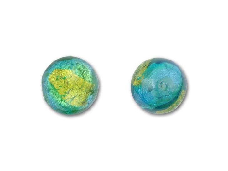 Venetian Glass 12mm Round - Abstract Silver Foil, Aquamarine and Peridot