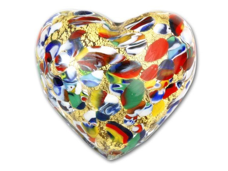 Venetian Glass 35mm Klimt-Style Heart with Gold Foil