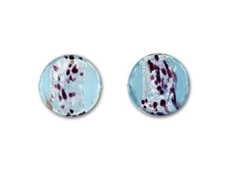 Venetian Glass Bead 14mm La Crima Ca'd'Oro Coin - Aquamarine