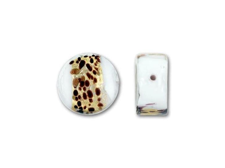 Venetian Glass Bead 14mm La Crima Ca'd'Oro Coin - White
