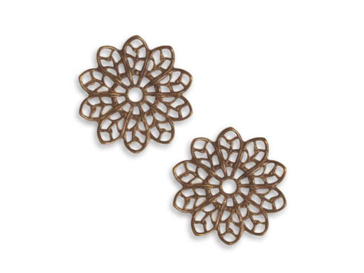Vintaj Natural Brass 20.5mm Filigree Flower
