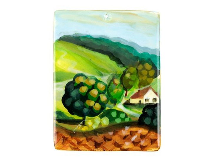 American Landscape by Grant Wood 30 x 40mm Mother of Pearl Pendant
