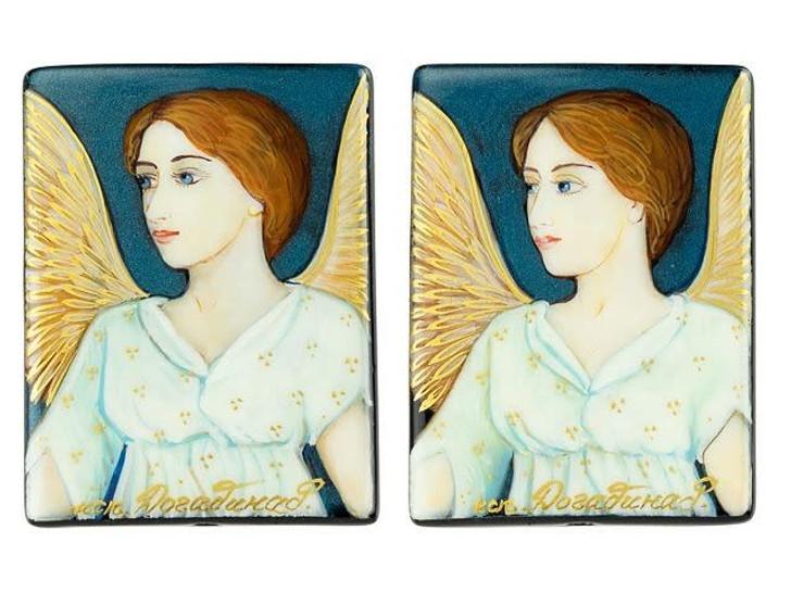 An Angel by Abbott Handerson Thayer 30 x 40mm Black Agate Bead