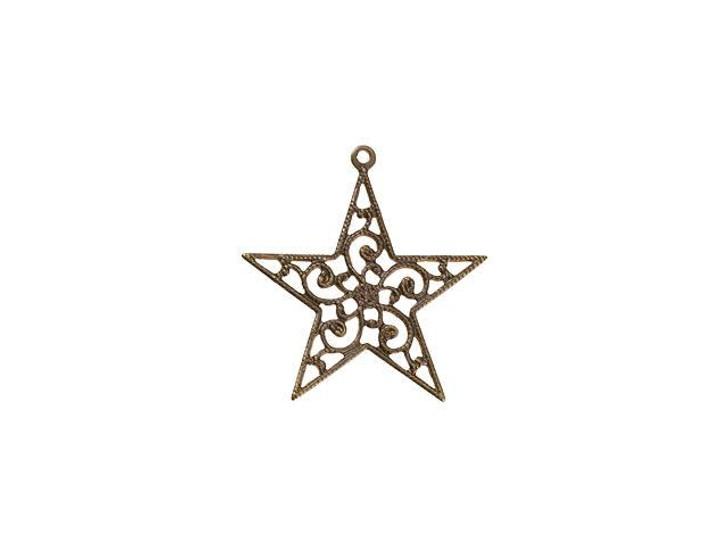Vintaj Natural Brass Filigree Star Pendant