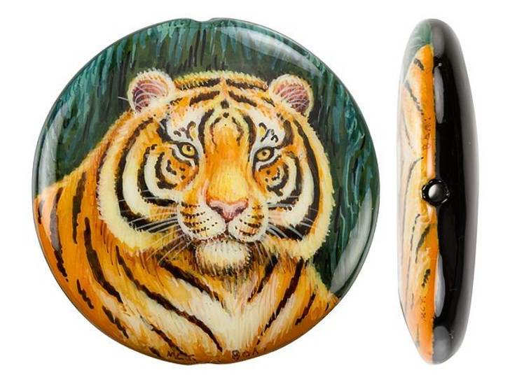 Watchful Tiger on Black Agate Round Bead