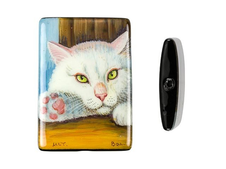 White Cat on Black Agate Rectangle Bead
