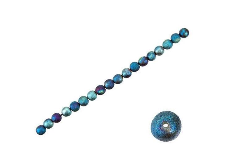 XAZ Bead Company 7mm Small Round Stan's Blue Raku Bead Strand