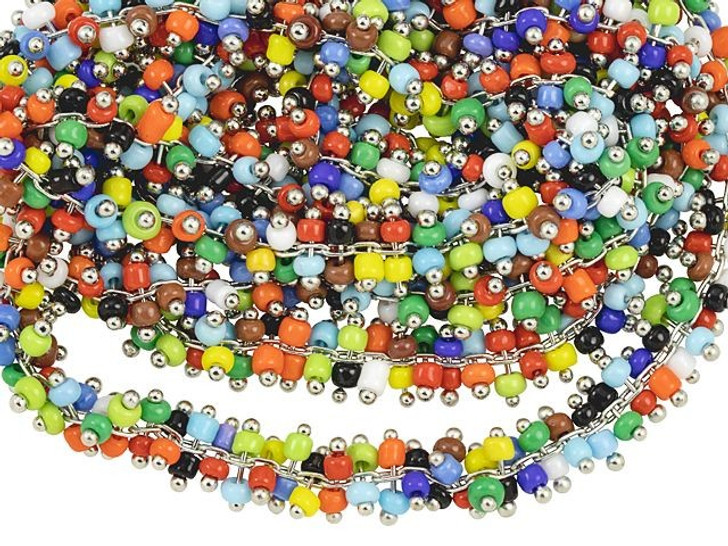 Zola Elements Rhodium-Plated Multi-Color Glass Bead Chain (1 Meter)