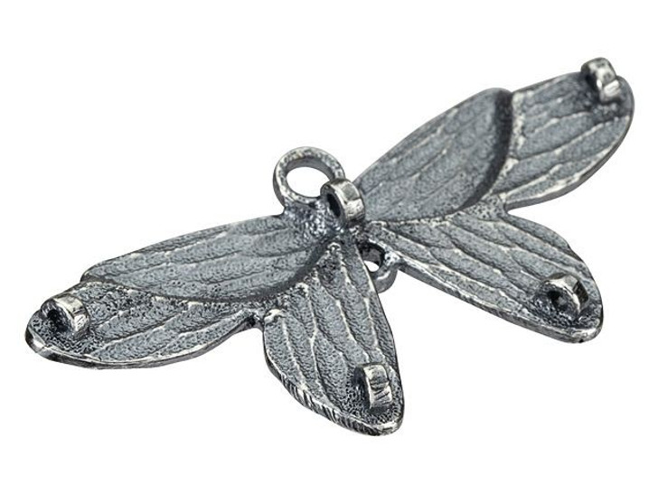 Anna Bronze Antique Silver Butterfly Pendant with 5 Back Loops