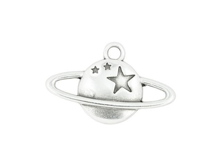 21 x 20mm Antique Silver-Plated Saturn Charm