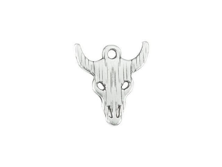 16 x 18mm Antique Silver-Plated Bull Head Charm
