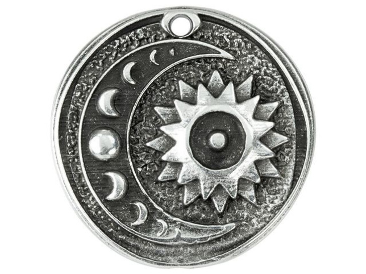 30mm Antique Silver-Plated Sun and Moon Phase Pendant
