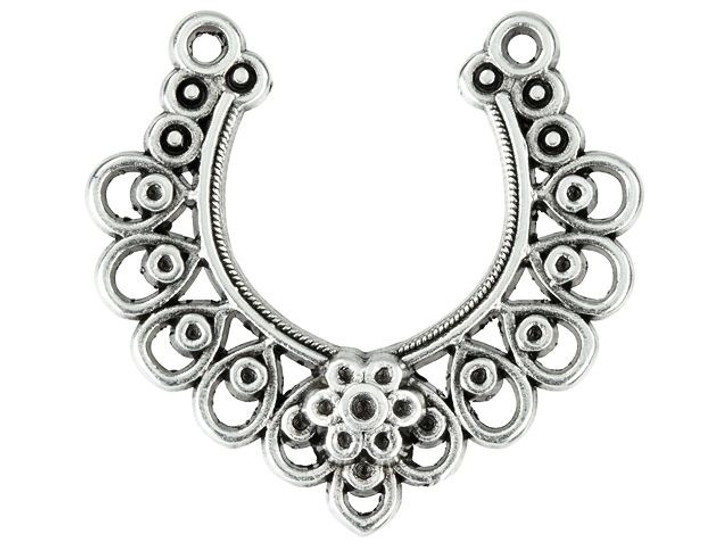32 x 31mm Antique Silver-Plated Lacy Crescent Pendant with 11 Loops