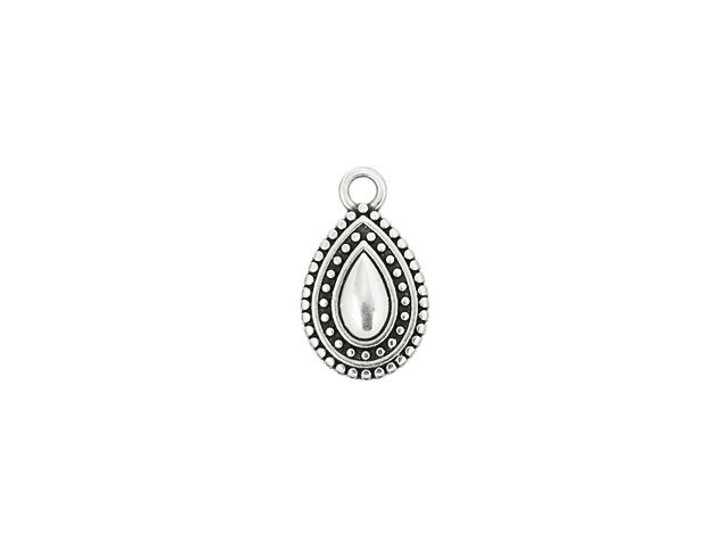 Antique Silver-Plated Ethnic Teardrop Charm