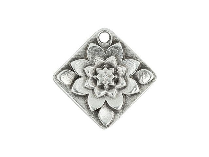 Antique Silver-Plated Floral Diamond Charm