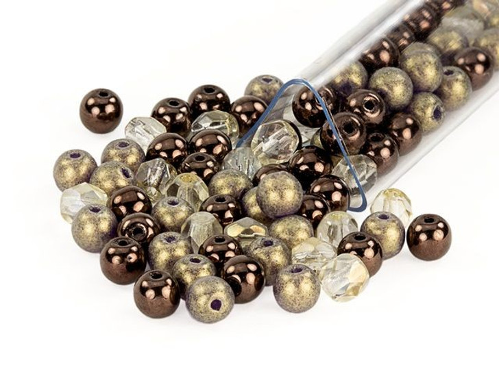 Artbeads 4mm Chocolate Eclair Designer Czech Glass Blend