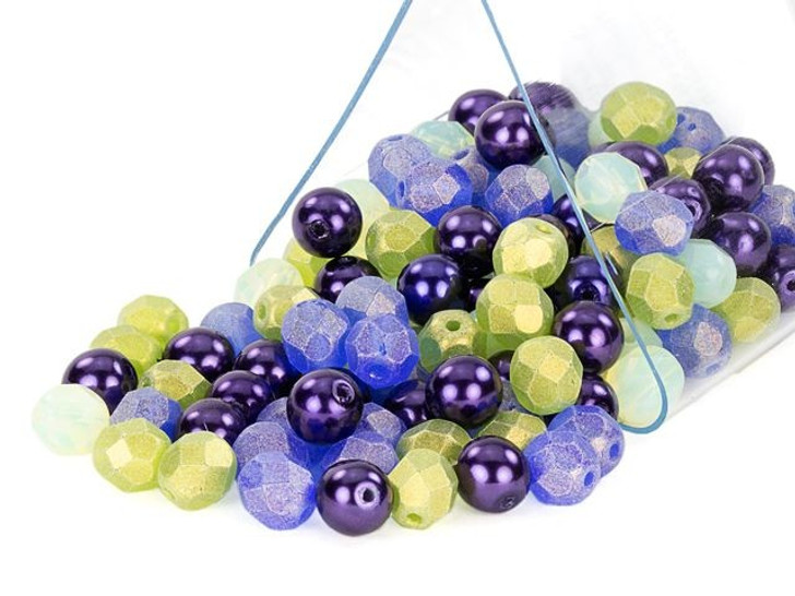 Artbeads 6mm Blueberry Mint Designer Czech Glass Blend