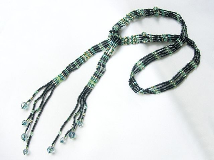 Bead Artistry Kits : Lariat w/ Cylinder Accents - Dk Green