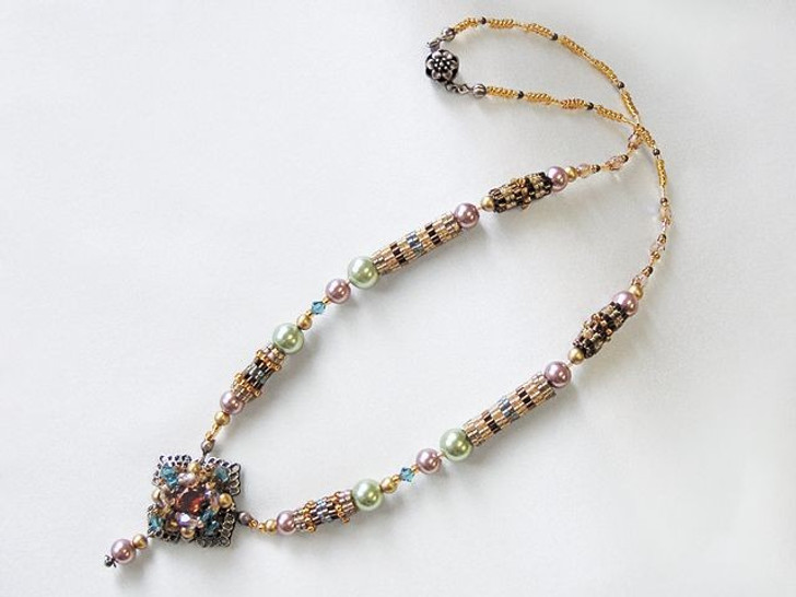 Bead Artistry Kits : Necklace with Faceted Glass Stone - Brown
