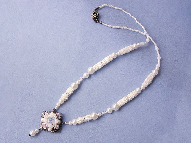 Bead Artistry Kits :Necklace with Faceted Glass Stone - White