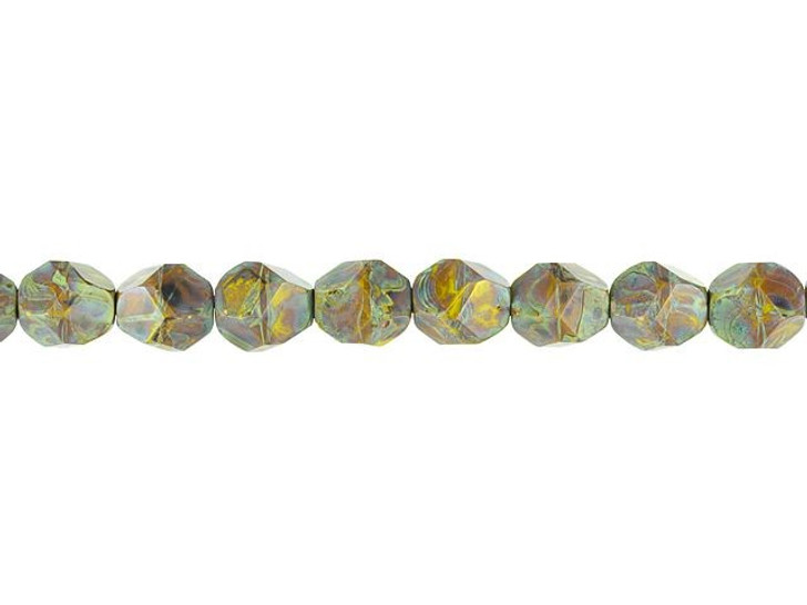Czech Glass 10mm Nugget Cut Gaspeite Opaque with Brown Picasso Finish Bead Strand by Raven's Journey