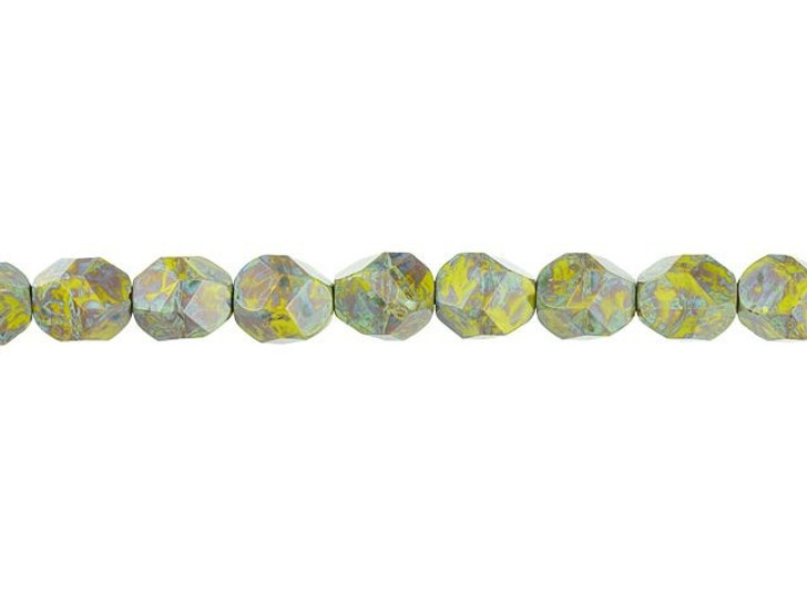 Czech Glass 10mm Nugget Cut Gaspeite Opaque with Green Picasso Finish Bead Strand by Raven's Journey
