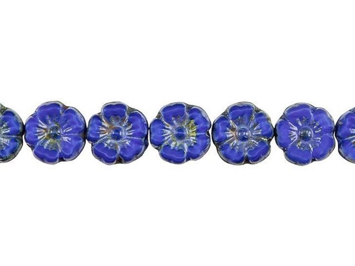 Czech Glass 10mm Royal Blue Silk with Picasso Finish Hibiscus Flower Bead Strand by Raven's Journey