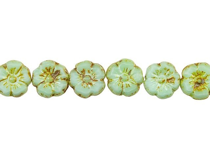 Czech Glass 10mm Seafoam Green Silk with Picasso Finish Hibiscus Flower Bead Strand by Raven's Journey