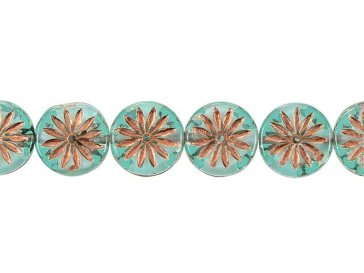 Czech Glass 12mm Aqua Blue Matte with White Core and Copper Wash Aster Coin Bead Strand by Raven's Journey