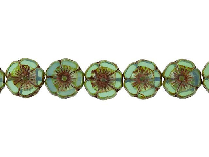 12 Hibiscus Flower 12mm Czech Glass Beads Champagne Picasso Turquoise Wash