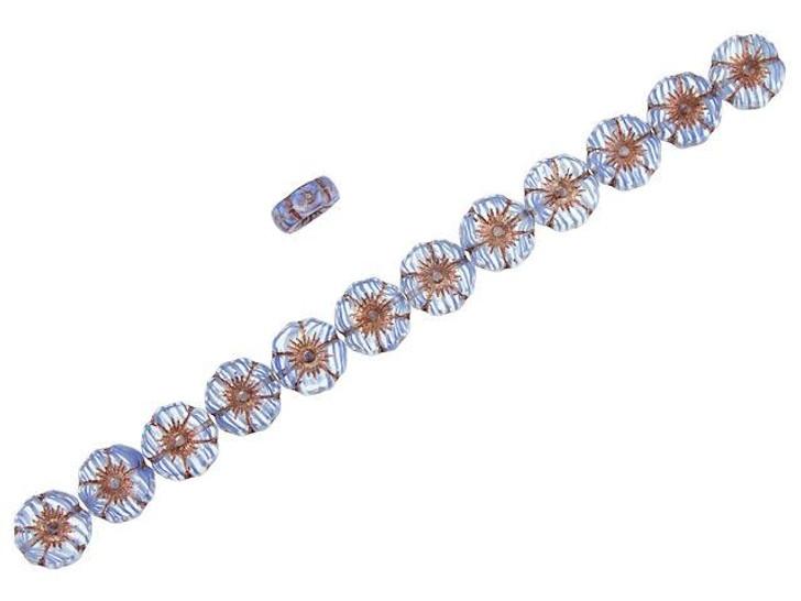 Czech Glass 12mm Sapphire Stripe Crystal with Dark Bronze Wash Hibiscus Flower Bead Strand by Raven's Journey