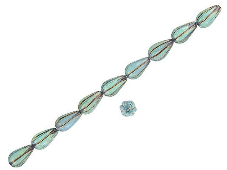 Czech Glass 13 x 8mm Aqua Blue with Dark Bronze Wash Melon Drop Bead Strand by Raven's Journey