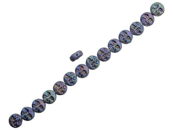 Czech Glass 13mm Purple Blue Iris Finish Matte Moon Face Bead Strand by Raven's Journey