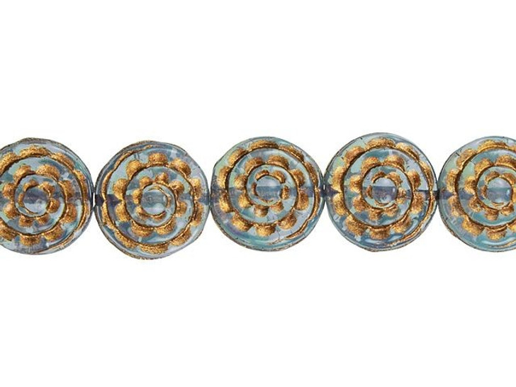 Czech Glass 13mm Aqua Blue Opaline with Dark Bronze Wash Sepal Spiral Flower Bead Strand by Raven's Journey