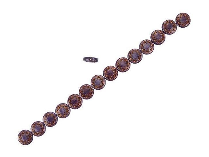 Czech Glass 13mm Purple Satin with Dark Bronze Wash Sun Wheel Bead Strand by Raven's Journey