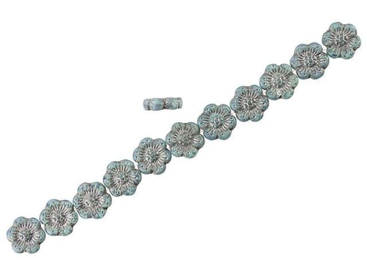 Czech Glass 14mm Aqua Blue Opaline with Platinum Wash Wild Rose Bead Strand by Raven's Journey